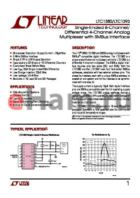 LTC1380CS datasheet - Single-Ended 8-Channel/ Differential 4-Channel Analog Multiplexer with SMBus Interface