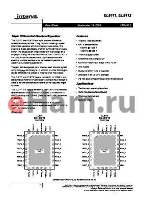 EL9112ILZ datasheet - Triple Differential Receiver/Equalizer