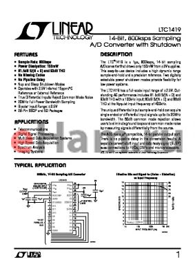 LTC1419CSW datasheet - 14-Bit, 800ksps Sampling A/D Converter with Shutdown