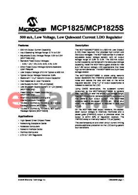 MCP1825ST-1802E/AT datasheet - 500 mA, Low Voltage, Low Quiescent Current LDO Regulator