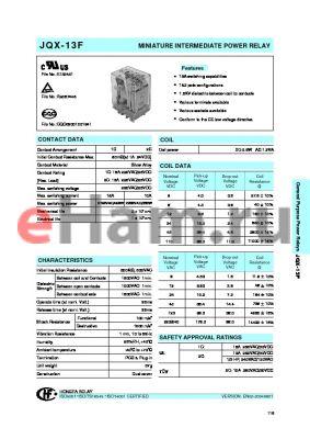 JQX-13F/A0302Z1D datasheet - MINIATURE INTERMEDIATE POWER RELAY