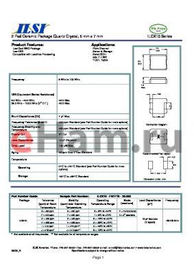 ILCX10-FI2F18-20.000 datasheet - 2 Pad Ceramic Package Quartz Crystal, 5 mm x 7 mm