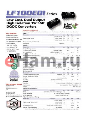 LF153EDI datasheet - Low Cost, Dual Output High Isolation 1W SMT DC/DC Converters