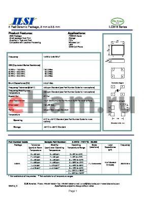 ILCX18-GG5F18-20.000 datasheet - 4 Pad Ceramic Package, 2 mm x 2.5 mm