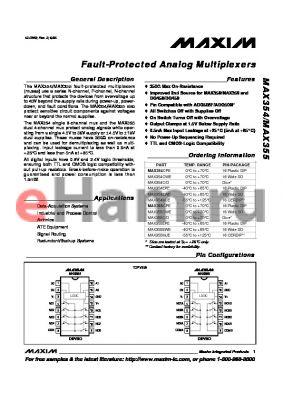 MAX355EWE datasheet - Fault-Protected Analog Multiplexers