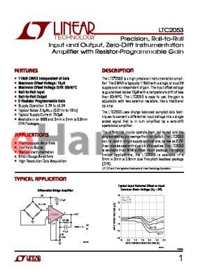 LTC2053IMS8 datasheet - Precision, Rail-to-Rail Input and Output, Zero-Drift Instrumentation Amplifier with Resistor-Programmable Gain