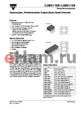 ILQ621-X006 datasheet - Optocoupler, Phototransistor Output (Dual, Quad Channel)