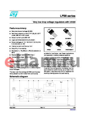 LF80ABP datasheet - Very low drop voltage regulators with inhibit