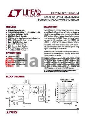 LTC2355IMSE-14 datasheet - Serial 12-Bit/14-Bit, 3.5Msps Sampling ADCs with Shutdown