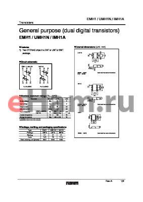 IMH1A datasheet - General purpose (dual digital transistors)