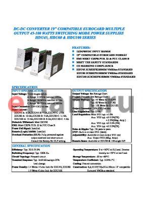 HDU100-C-12 datasheet - DC-DC CONVERTER 19 COMPATIBLE EUROCARD MULTIPLEV OUTPUT 45-100 WATTS SWITCHING MODE POWER SUPPLIES HDU45, HDU60 AND HDU100 SERIES