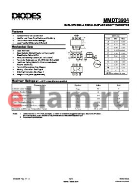 MMDT3904_1 datasheet - DUAL NPN SMALL SIGNAL SURFACE MOUNT TRANSISTOR