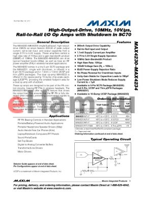 MAX4230 datasheet - High-Output-Drive, 10MHz, 10V/ls, Rail-to-Rail I/O Op Amps with Shutdown in SC70