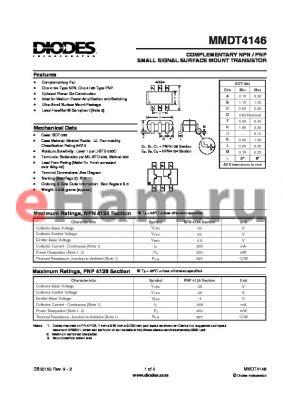 MMDT4146 datasheet - COMPLEMENTARY NPN / PNP SMALL SIGNAL SURFACE MOUNT TRANSISTOR