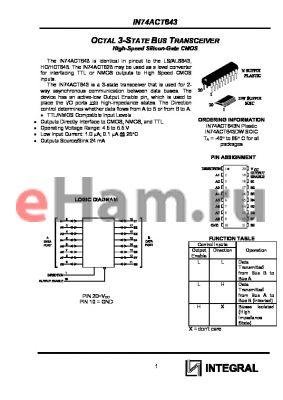 IN74ACT643DW datasheet - OCTAL 3-STATE BUS TRANSCEIVER