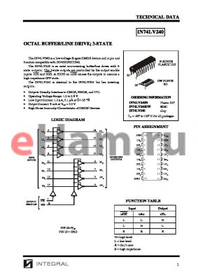 IN74LV240 datasheet - OCTAL BUFFER/LINE DRIVE; 3-STATE