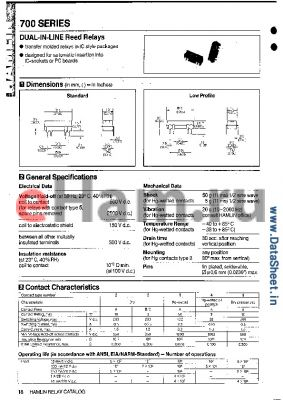 HE732E2420 datasheet - DUAL-IN-LINE Reed Relay