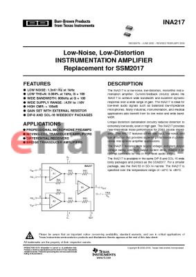 INA217AIDWTE4 datasheet - Low-Noise, Low-Distortion INSTRUMENTATION AMPLIFIER Replacement for SSM2017