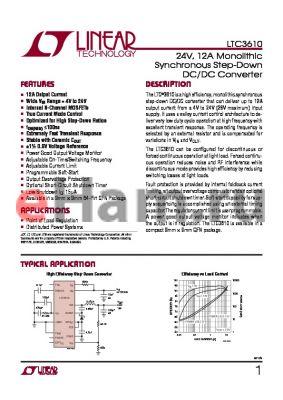 LTC3610EWP-TRPBF datasheet - 24V, 12A Monolithic Synchronous Step-Down DC/DC Converter