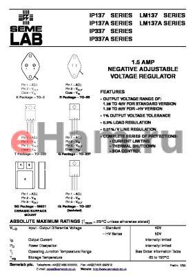 IP337K datasheet - 1.5 AMP NEGATIVE ADJUSTABLE VOLTAGE REGULATOR