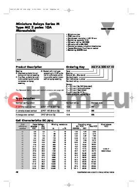 MZFC0204910A datasheet - Miniature Relays Series M Type MZ 2 poles 10A Monostable