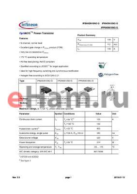 IPB042N10N3G datasheet - OptiMOS3 Power-Transistor