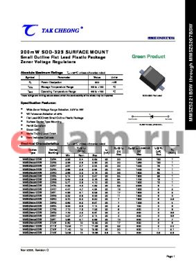 MMSZ5260BSW datasheet - 200mW SOD-323 SURFACE MOUNT Small Outline Flat Lead Plastic Package Zener Voltage Regulators