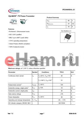 IPD30N06S4L-23 datasheet - OptiMOS-T2 Power-Transistor