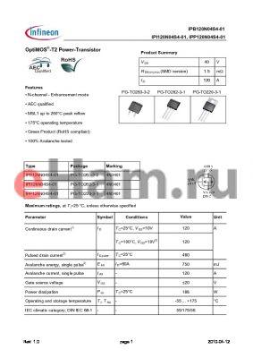 IPI120N04S4-01 datasheet - OptiMOS-T2 Power-Transistor