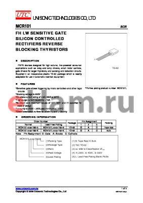 MCR101-8-B-T92-B datasheet - FH LW SENSITIVE GATE SILICON CONTROLLED RECTIFIERS REVERSE BLOCKING THYRISTORS