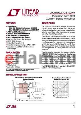 LTC6102CMS8-PBF datasheet - Precision Zero Drift Current Sense Amplifi er