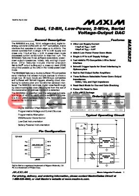 MAX5822 datasheet - Dual, 12-Bit, Low-Power, 2-Wire, Serial Voltage-Output DAC