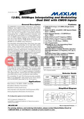 MAX5894 datasheet - 12-Bit, 500Msps Interpolating and Modulating Dual DAC with CMOS Inputs