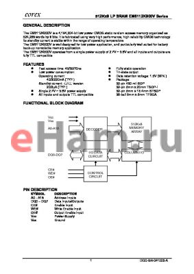 EM6112K800WTA-70IF datasheet - 512Kx8 LP SRAM