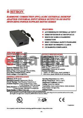 HEP103-150068 datasheet - HARMONIC CORRECTION (PFC) AC/DC EXTERNAL DESKTOP ADAPTER UNIVERSAL INPUT SINGLE OUTPUT 95-103 WATTS SWITCHING POWER SUPPLIES