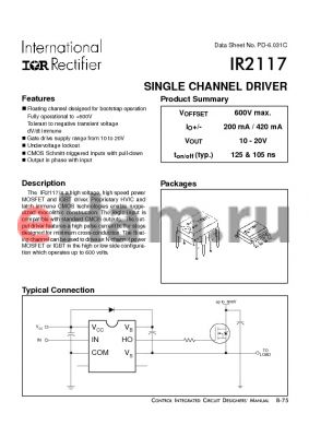 IR2117 datasheet - SINGLE CHANNEL DRIVER