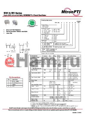 M3H21TDG datasheet - 8 pin DIP, 3.3 or 5.0 Volt, HCMOS/TTL Clock Oscillator