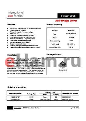 IR25601STRPBF datasheet - Half-Bridge Driver