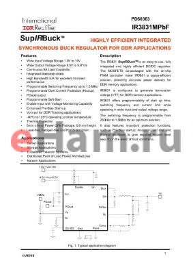 IR3831MPBF datasheet - HIGHLY EFFICIENT INTEGRATED SYNCHRONOUS BUCK REGULATOR FOR DDR APPLICATIONS