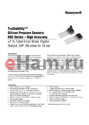 HSCSRRN010BC2A3 datasheet - TruStability silicon Pressure Sensors: HSC Series-High Accuracy -1% total Error band,Analog output,SIP,60 mbar to,10 bar