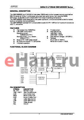 EM6156K800VSA-45I datasheet - 256Kx16 LP SRAM