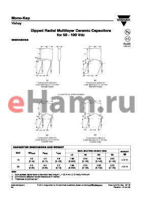 K180J15C0GF5.L2 datasheet - Dipped Radial Multilayer Ceramic Capacitors for 50 - 100 Vdc