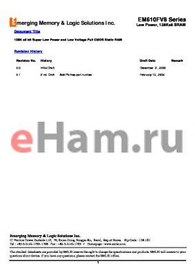 EM6161FV16CW55L datasheet - 128K x8 bit Super Low Power and Low Voltage Full CMOS Static RAM