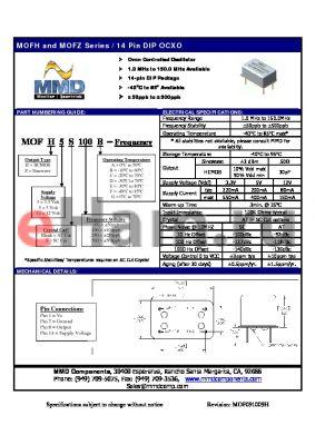 MOFZ3S100A datasheet - Oven Controlled Oscillator