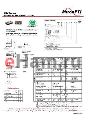 M3V21V2CJ datasheet - 9x14 mm, 3.3 Volt, HCMOS/TTL, VCXO