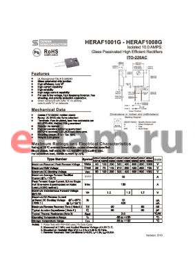 HERAF1003G datasheet - Isolated 10.0 AMPS. Glass Passivated High Efficient Rectifiers