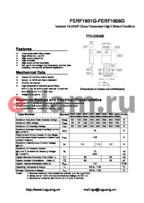 HERF1604G datasheet - Isolated 16.0AMP.Glass Passivated High Efficient Rectifiers