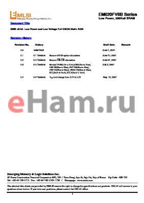 EM623FT8ET10S datasheet - 256K x8 bit Low Power and Low Voltage Full CMOS Static RAM