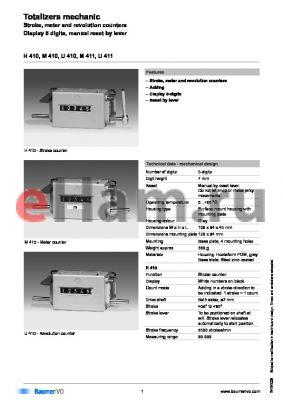 M410.010B02A datasheet - Totalizers mechanic