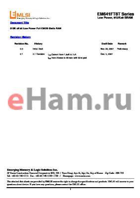 EM626FT8ET-45L datasheet - 512K x8 bit Low Power Full CMOS Static RAM
